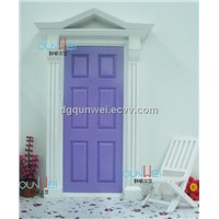 QW60500 Doll house Fairy Mini Doors Wood Painted Exterior Door With Hardware