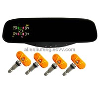 Rear view mirror TPMS for any car tire safety