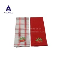 Red Embroidered With cherry Waffle Kitchen Towel 2pc/set
