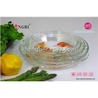 Round high borosilicate glass baking plate