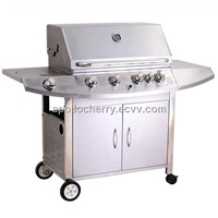 Stainless Steel Cast Iron 4 Burners Gas Grill Barbecue with infrared back burner