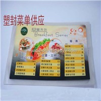 Supply 0.08mm Thichkness Customized Plastic laminated menu/ Plastic envelope Menu(QH-SF-003)