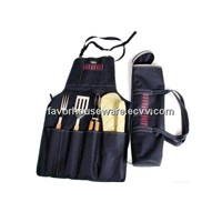 Apron barbecue tool set WITH OVEN MITT AND FORK