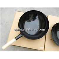 Chinese wrought iron with one wooden handle enamel wok