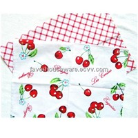 100% cotton printed cherry and check napkin