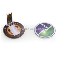 Best promotional gift !Round Mini Credit-card USB Flash Drive with Digital Print