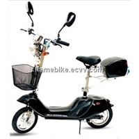 Electric Dolphin Scooter With Rear Box, Reflector, Front Light, Basket, Speedometer.