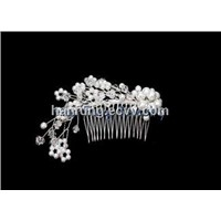 Elegant Pearl and Crystal Beads Making Crystal Bridal Hair Comb 925