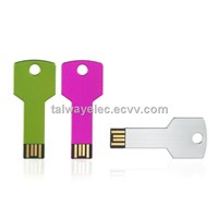 Key-shaped USB Flash Drives with 128MB and 16GB Capacity, Hot-swap, Plug-and-play Functions