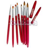 Metal Handle Kolinsky Sable Hair Acrylic Nail Gel Nail Brush 7PCS Set