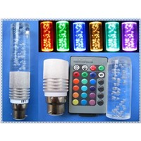 New Item 3W RGB LED Crystal Lamp 16 Colors Changing with IR Remote 360 DEG Angle E27 B22 GU10