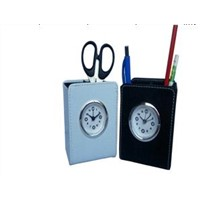PU pen holder with clock HR9269