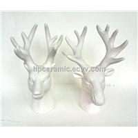 White Porcelain Deer, Christmas Deer Head
