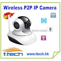 Wireless Pan Tilt IP Camera With P2P,wifi, ir-cut,two-way audio