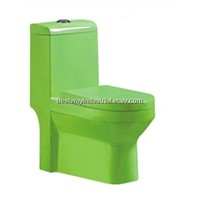 green color siphonic one piece toilet one piece closet