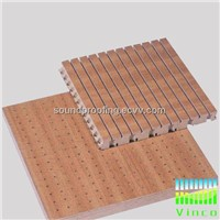 grooved wooden sound absorbing materials for wall and colorful, stock for sale