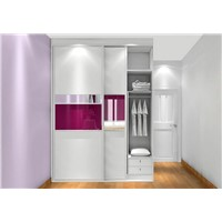 white & pink color wardrobe,sliding door ,modern design