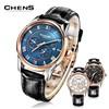 ChenS Men's Eclipse Series Rose Gold  Calf Strap Watch