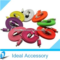 1M/2M/3M Noodle Flat USB Data Charge Cable for iPhone5/5s/5c/iPad 7 Colors available on stock
