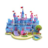 Blue castle Puzzles DIY 3D Jigsaw Puzzle Kids Educational intelligence development Toy