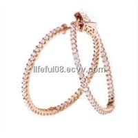 2014 beautiful women small  fine earrings with clear CZ