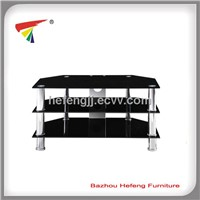 3- Tier Glass TV Stand Black, Stainess Tube