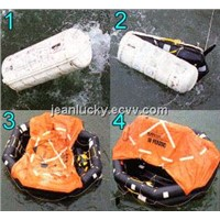 6persons throw overboard inflatable life raft
