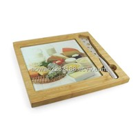 Cheese Knife with Glass Board and Bamboo Holder