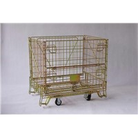 Foldable stacking steel warehouse storage wire cage with wheels