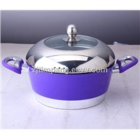 Forged aluminum stock pot in non-stick coating and 2.5mm thickness