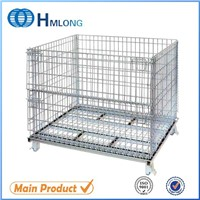 Industrial large folding and stackable heavy duty wire basket