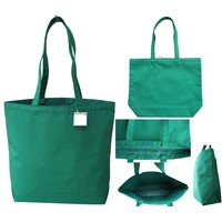 "Lead Free Microfiber Simple Tote Bag 13x14 1/2x5"" w/long handle 25"" Emerald"