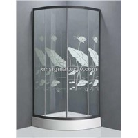 Lotus leaf design toughened glass shower enclosure