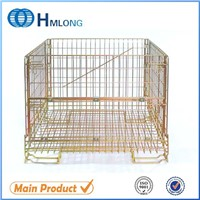 Stacking collapsible wire container storage cage wire mesh container