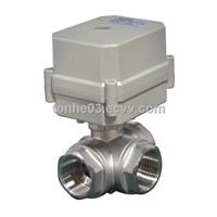 Three way horizontal L port electric shut off valve