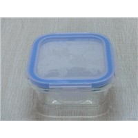 glass square food storage container with pattern lid