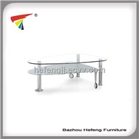 modern glass coffee table with wheels,frost and clear tempered glass