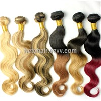 ombre hair two tone color remy hair weave brazilian hair