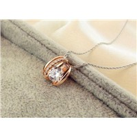 rose gold plated 925 sterling silver pendant with crystal cubic zircon stone