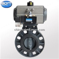 pvc butterfly valve with spring return and double acting pneumatic actuator