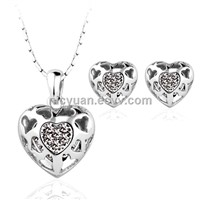 2014 New Arrival heart design with crystal high quality Jewelry set wholesale