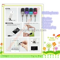 4 in 1 touch pen stylus with mobile phone holder +screen cleaner+headset anti dust cover