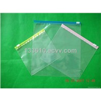 Clear plastic slider bags with colorful zipper
