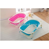 Foldable baby bath with drain plug