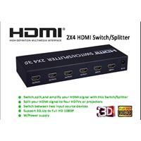 HDMI Switch/Splitter 2 x 4 Supports 3D 1080P