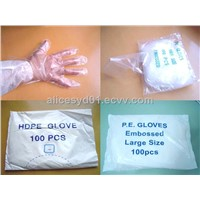 HDPE/LDPE Disposable  White PE Gloves