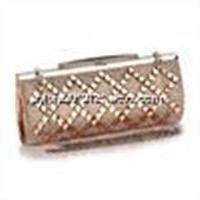 New popular element glass drill clutch women messenger hand bags with champagne color in small size