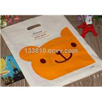 PE gift bags/ plastic shopping bags with die cut handle