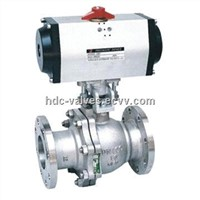 Pneumatic floating ball valve with soft seal