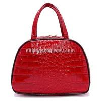 Red color pu leather fancy ladies fashion handbag, ladies handbag